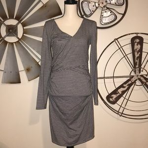 Leith jersey wrap dress! Stripes!